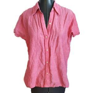 Eddie Bauer Linen Blend Button Shirt Top Pink M